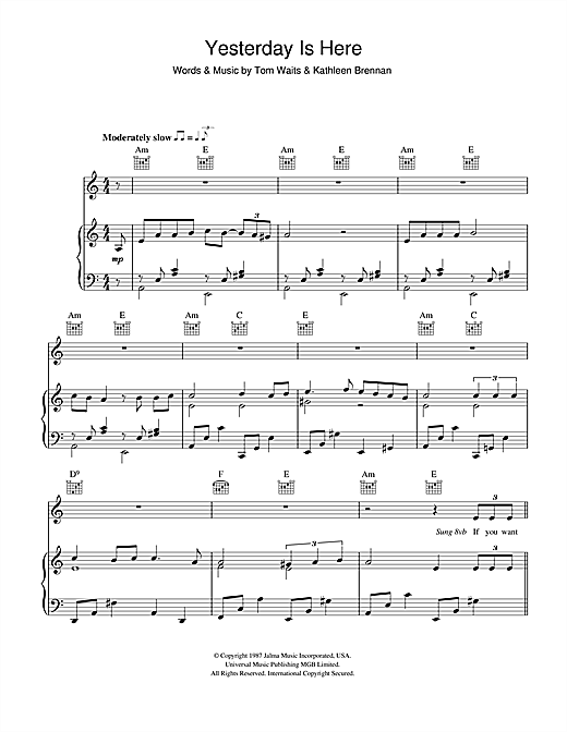 Tom Waits Yesterday Is Here sheet music notes and chords. Download Printable PDF.