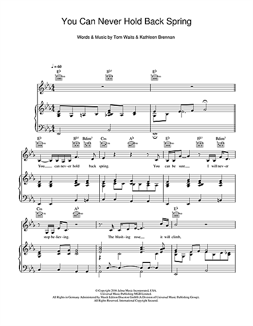 Tom Waits You Can Never Hold Back Spring sheet music notes and chords. Download Printable PDF.