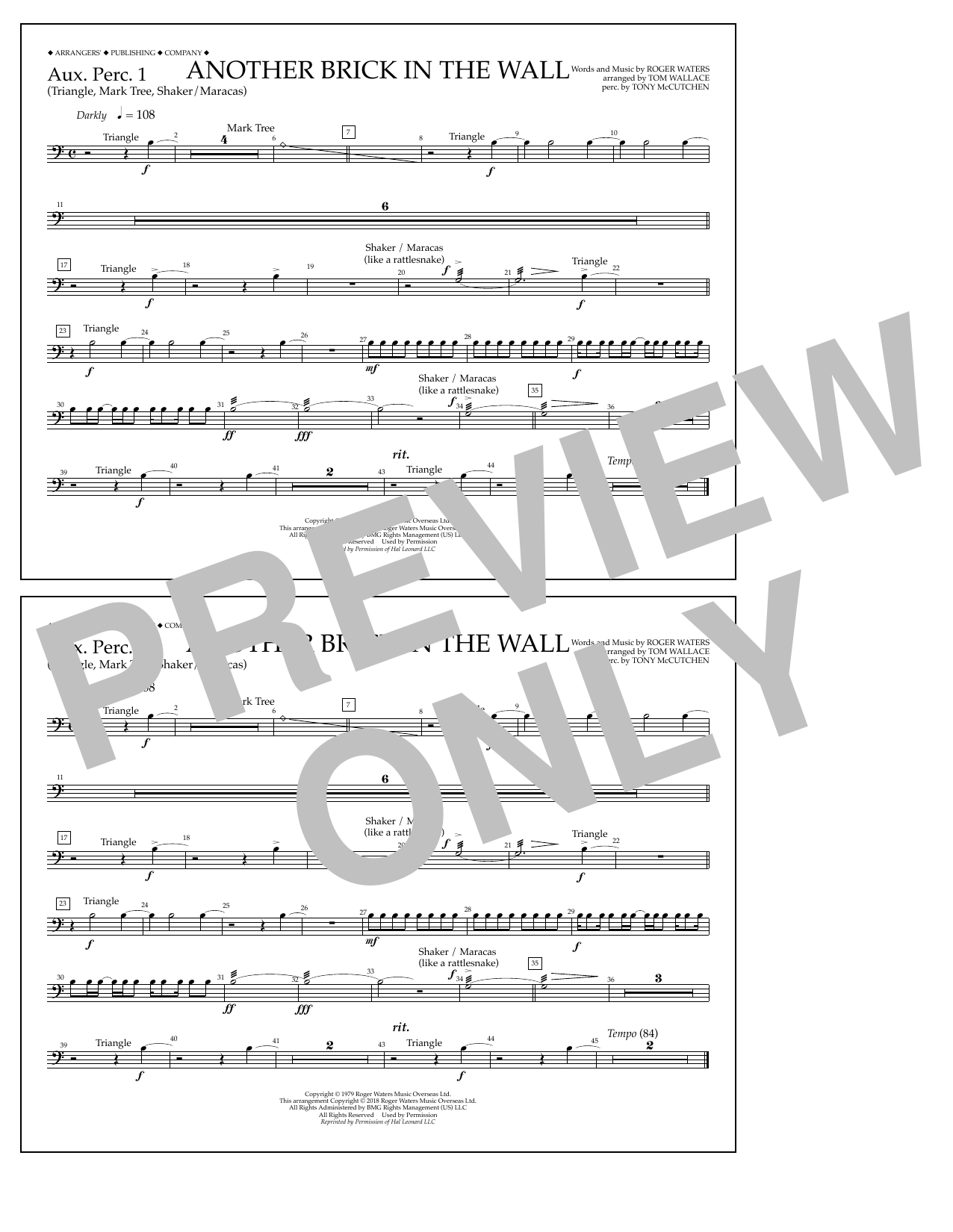 Tom Wallace Another Brick in the Wall - Aux. Perc. 1 sheet music notes and chords