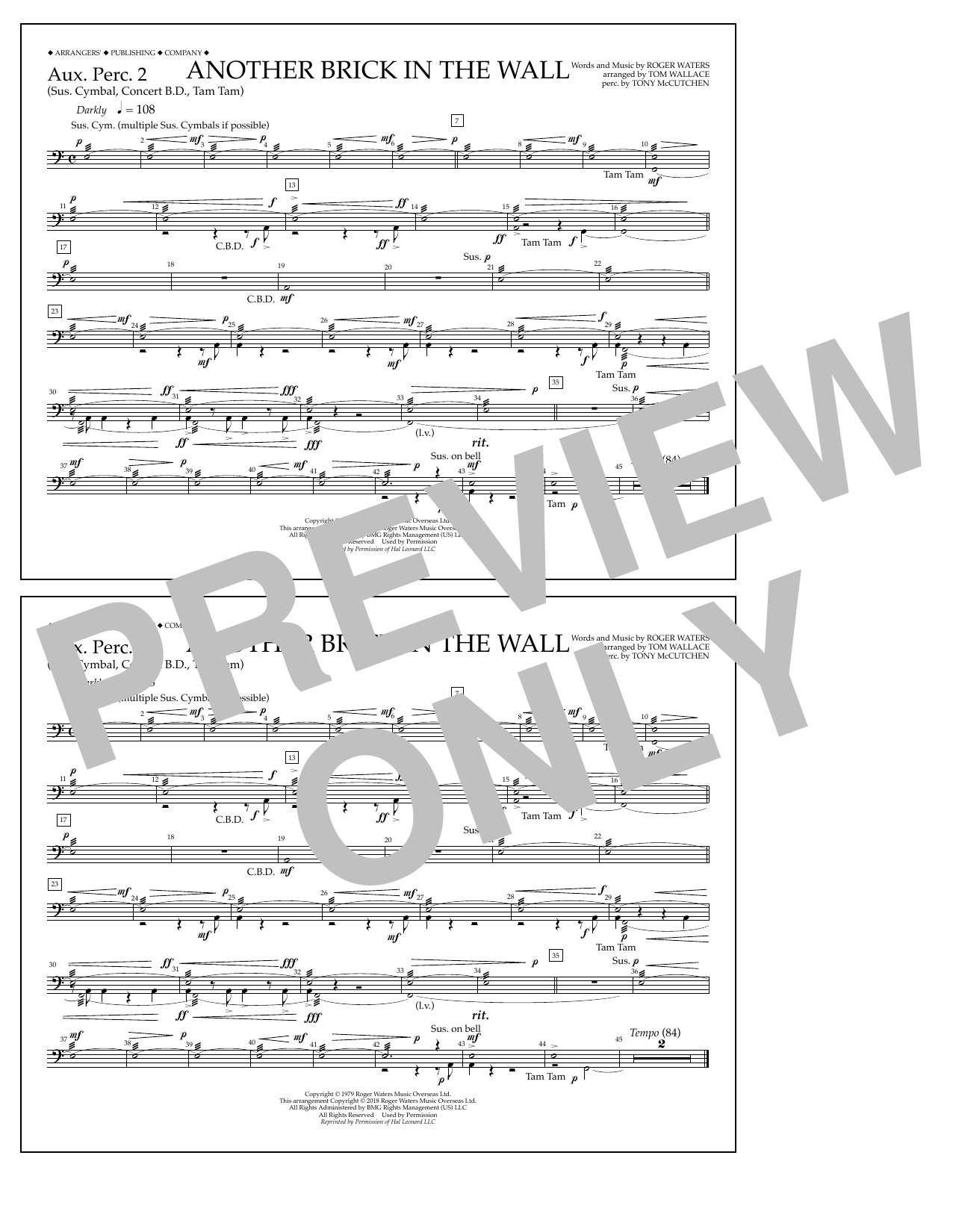 Tom Wallace Another Brick in the Wall - Aux. Perc. 2 sheet music notes and chords. Download Printable PDF.