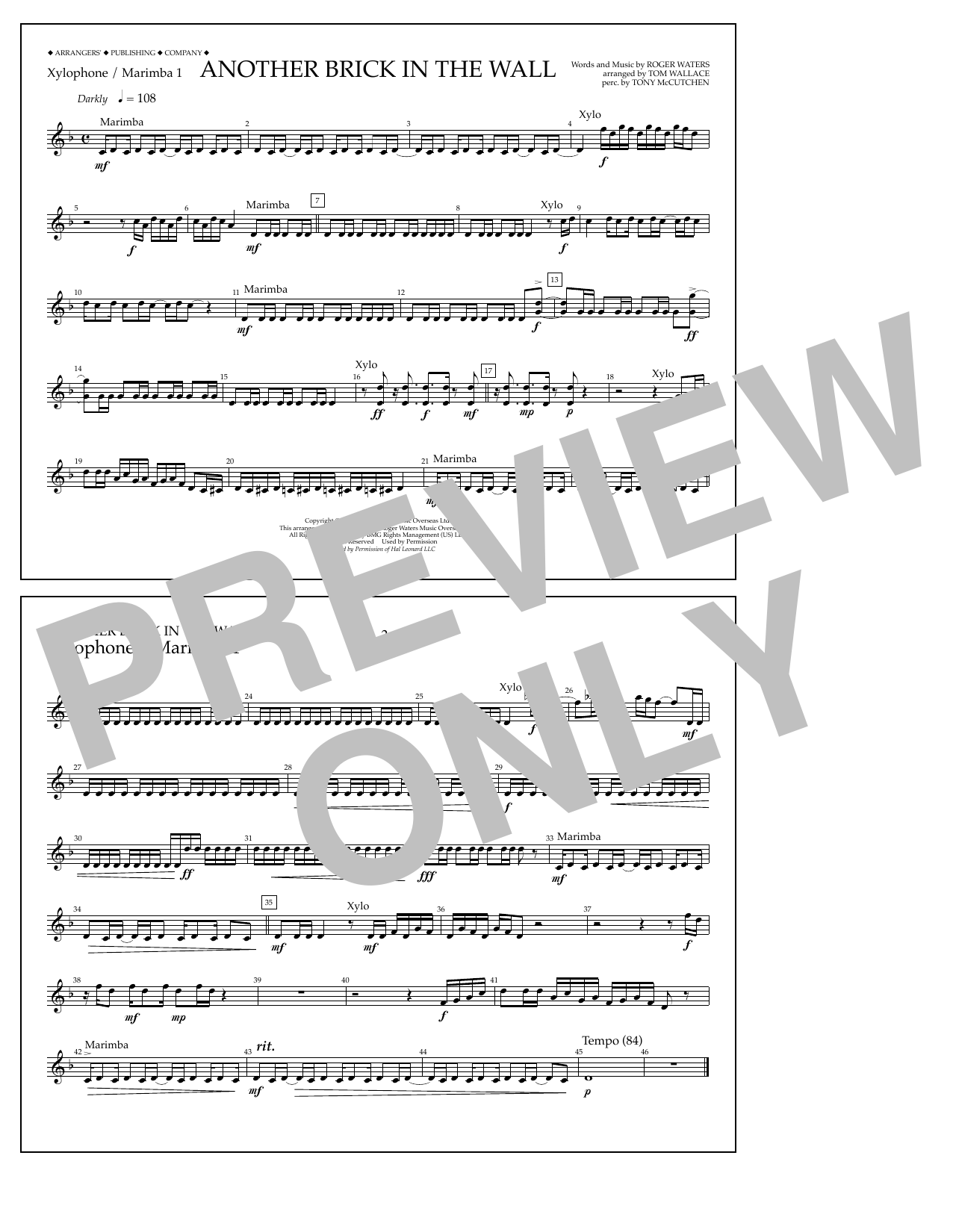 Tom Wallace Another Brick in the Wall - Xylophone/Marimba 1 sheet music notes and chords