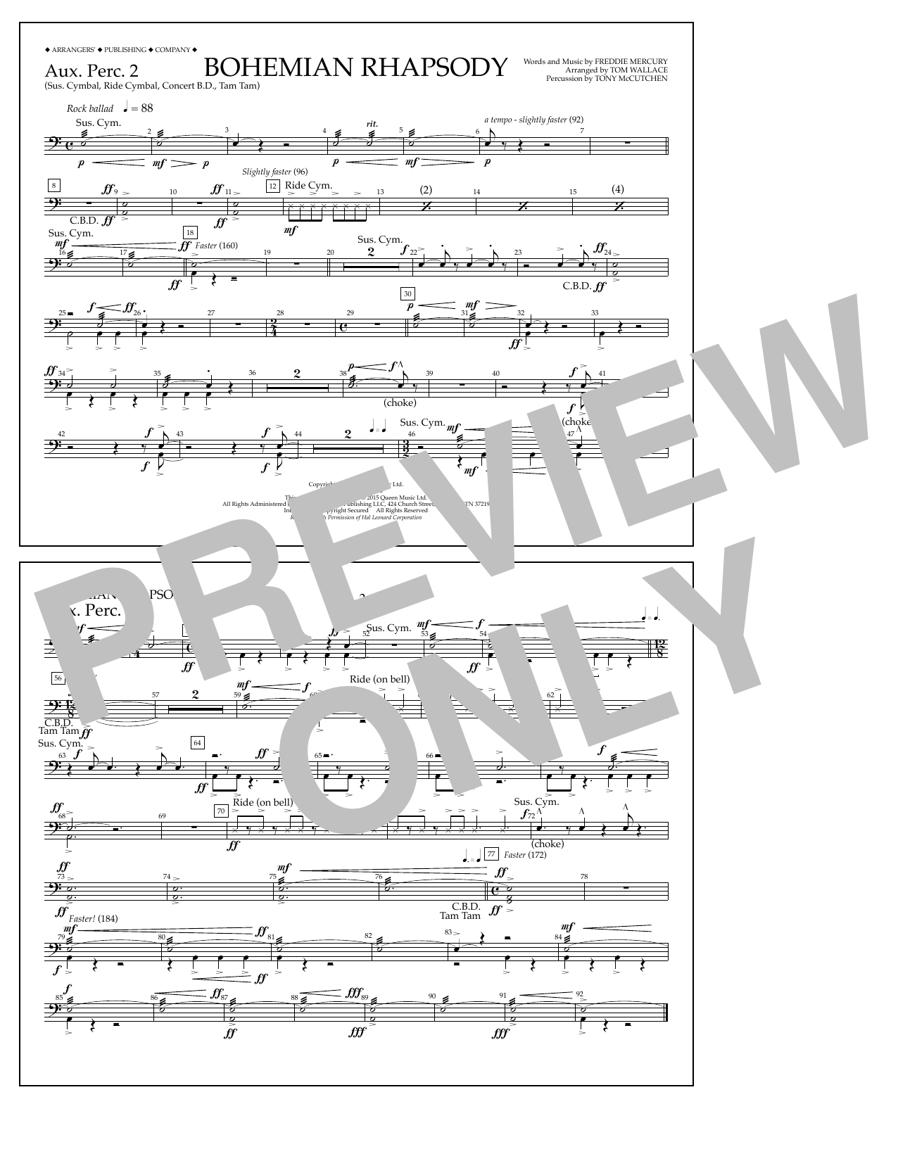 Tom Wallace Bohemian Rhapsody - Aux. Perc. 2 sheet music notes and chords. Download Printable PDF.