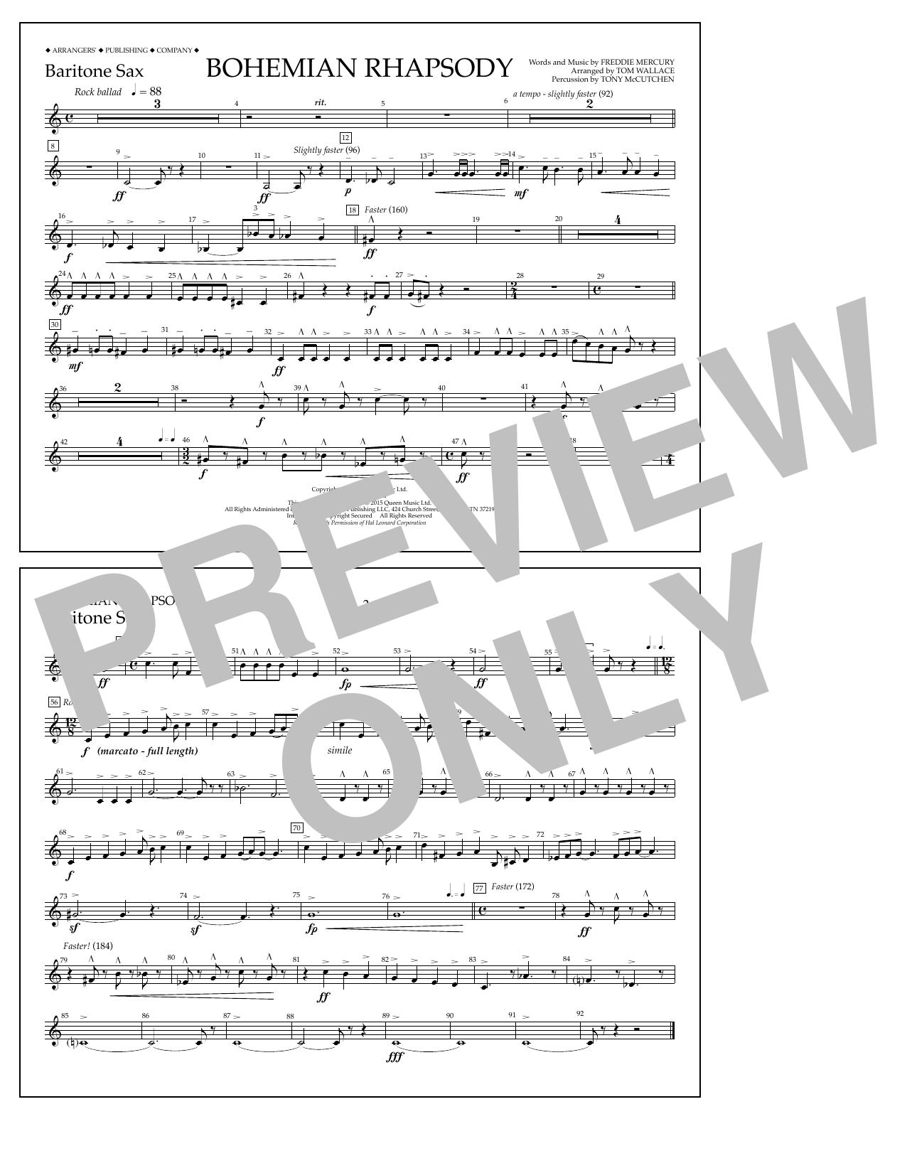 Tom Wallace Bohemian Rhapsody - Baritone Sax sheet music notes and chords. Download Printable PDF.