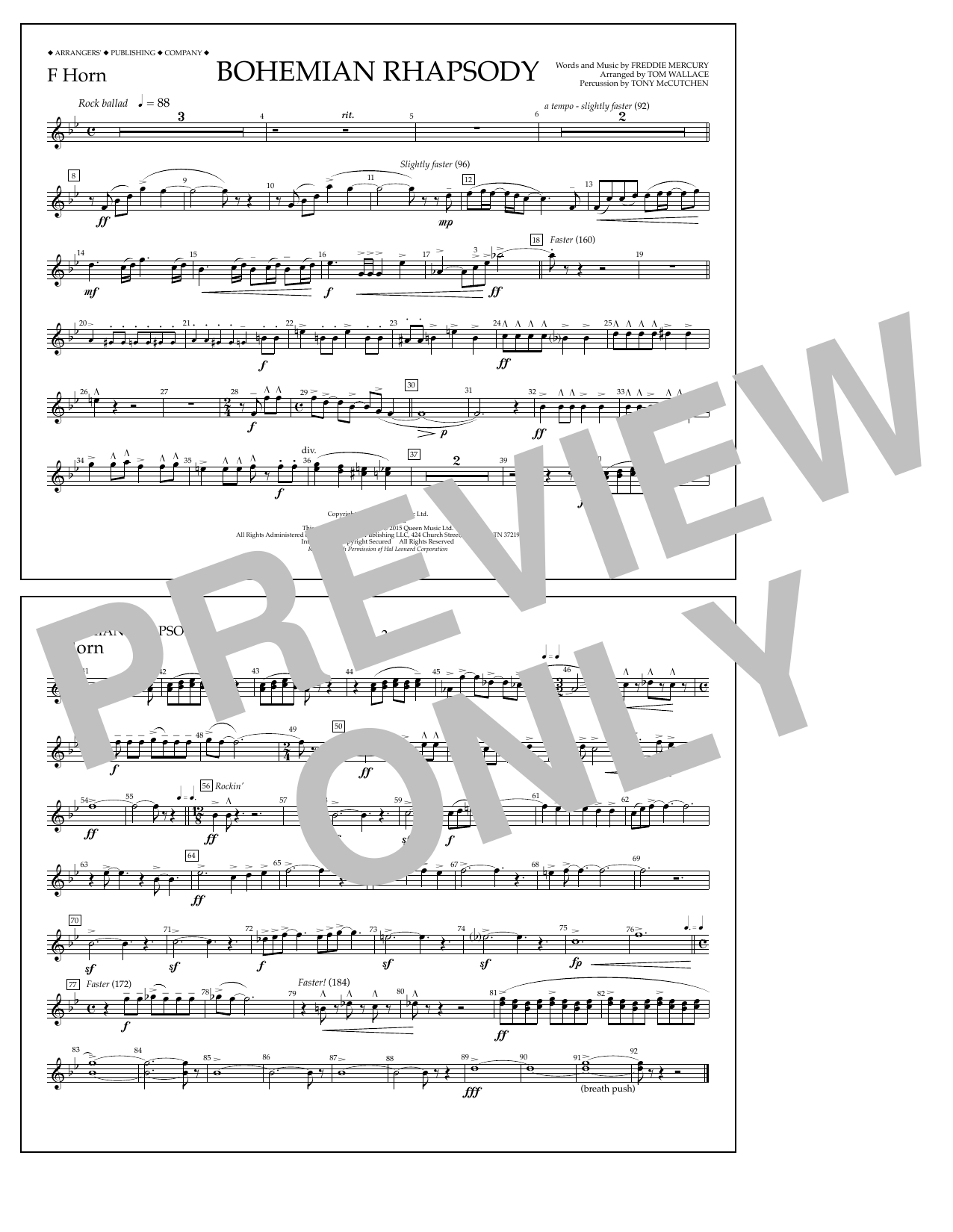 Tom Wallace Bohemian Rhapsody - F Horn sheet music notes and chords
