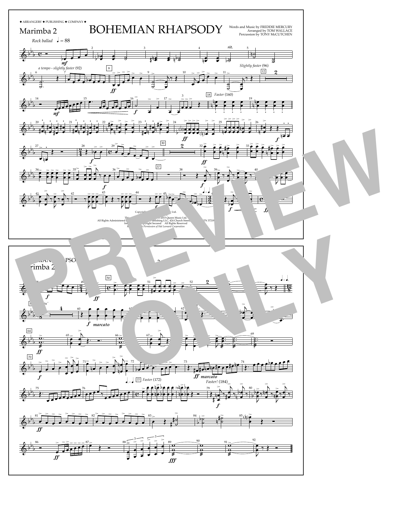 Tom Wallace Bohemian Rhapsody - Marimba 2 sheet music notes and chords