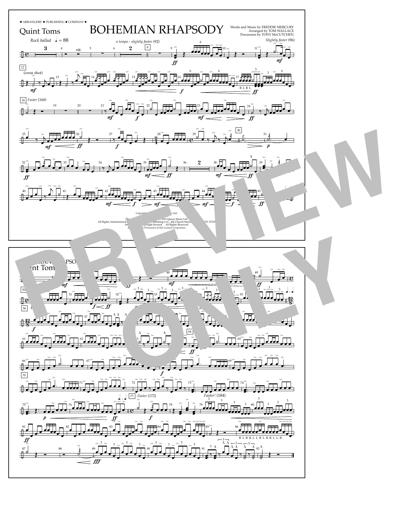 Tom Wallace Bohemian Rhapsody - Quint-Toms sheet music notes and chords. Download Printable PDF.