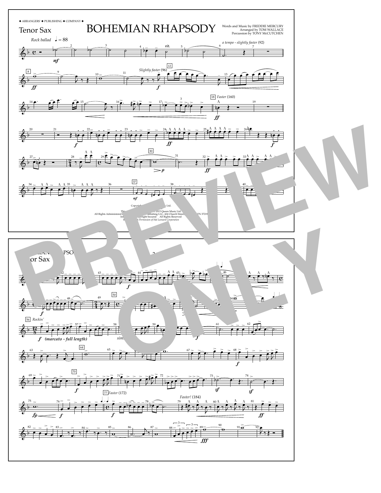 Tom Wallace Bohemian Rhapsody - Tenor Sax sheet music notes and chords. Download Printable PDF.
