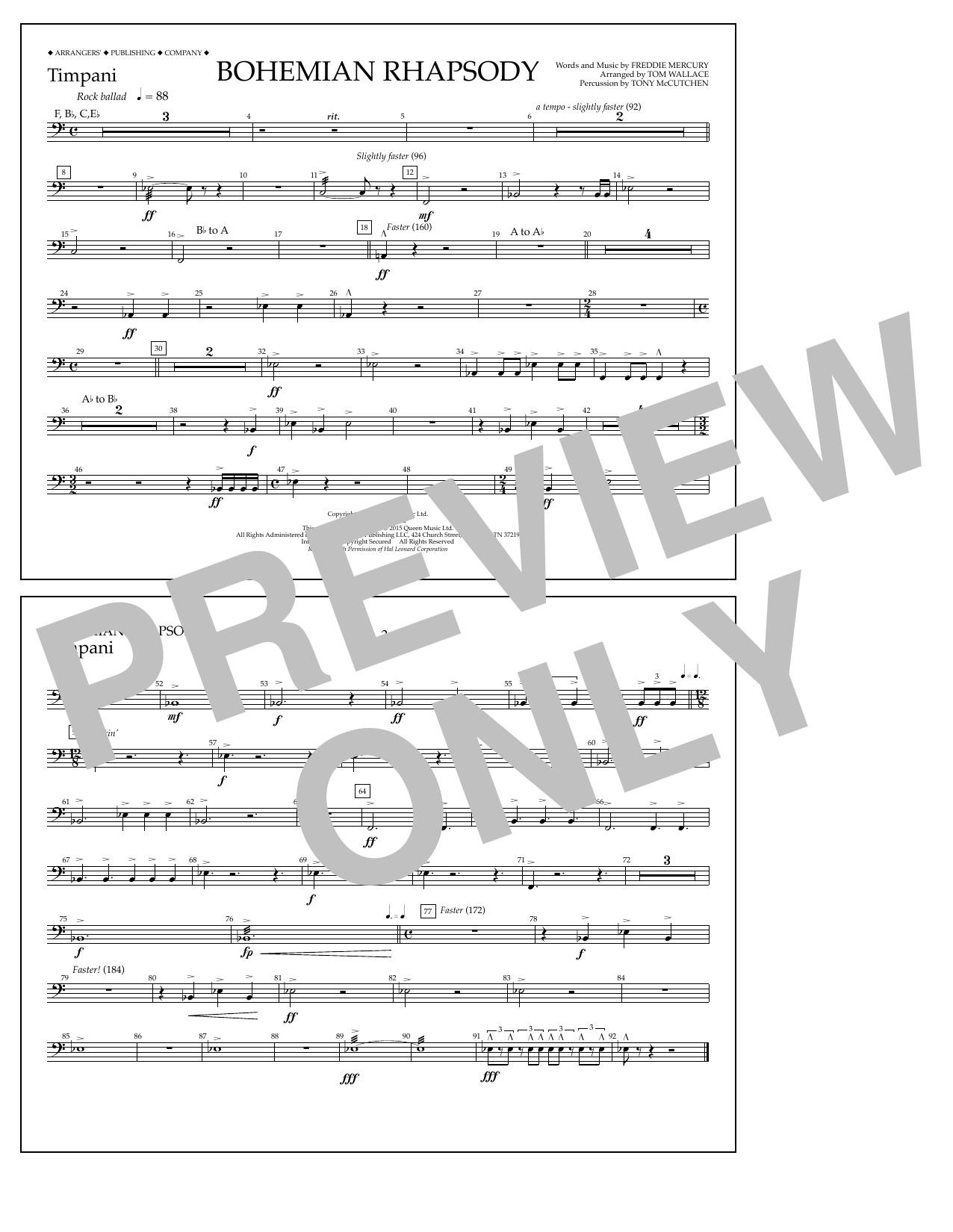 Tom Wallace Bohemian Rhapsody - Timpani sheet music notes and chords. Download Printable PDF.