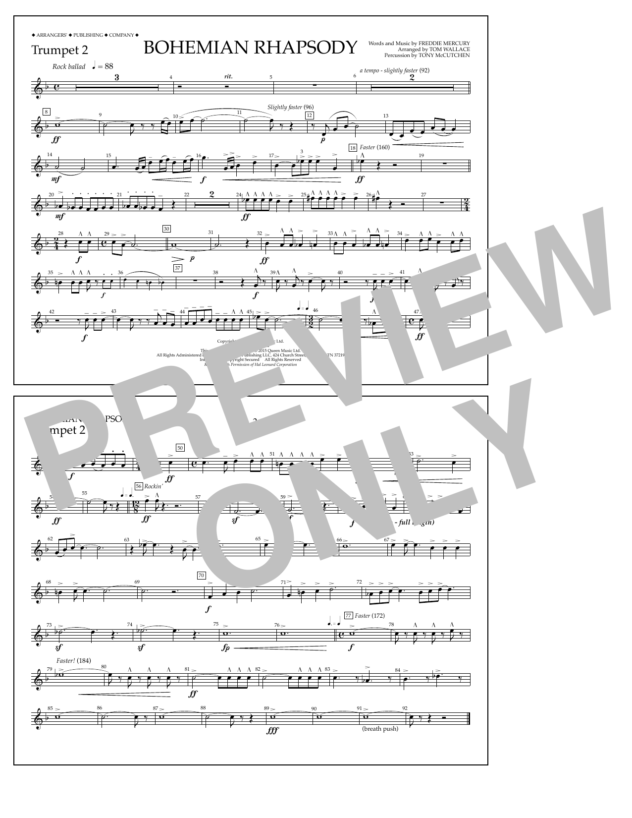 Tom Wallace Bohemian Rhapsody - Trumpet 2 sheet music notes and chords. Download Printable PDF.