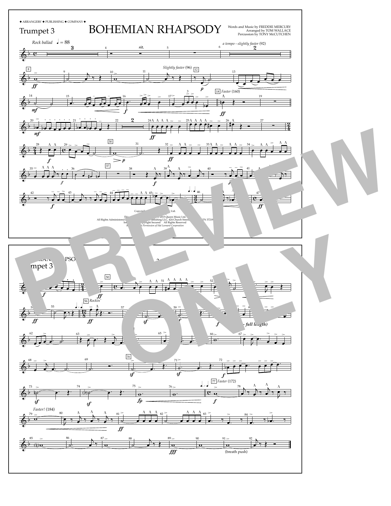 Tom Wallace Bohemian Rhapsody - Trumpet 3 sheet music notes and chords. Download Printable PDF.