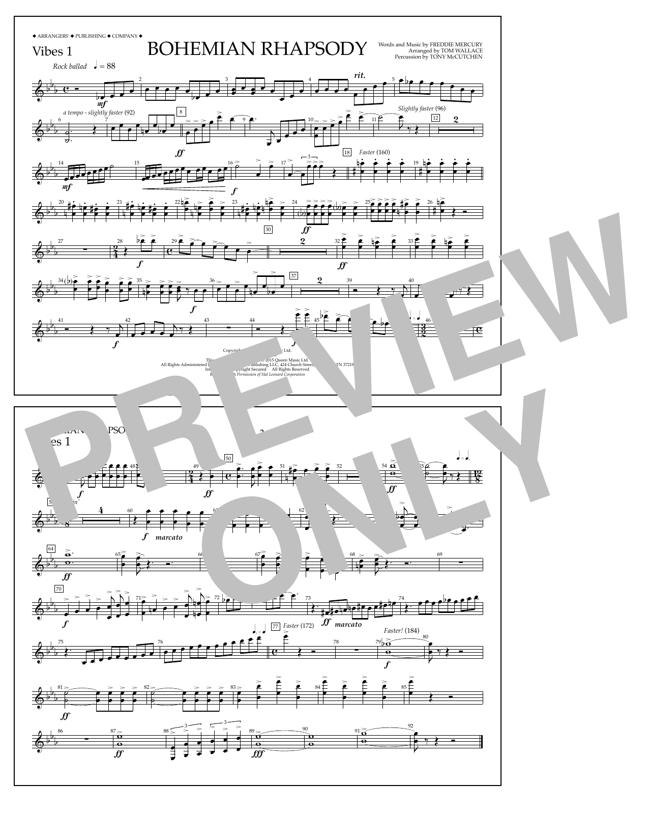 Tom Wallace Bohemian Rhapsody - Vibes 1 sheet music notes and chords. Download Printable PDF.