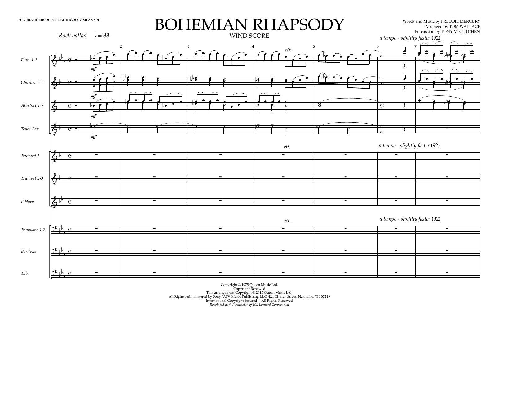 Tom Wallace Bohemian Rhapsody - Wind Score sheet music notes and chords. Download Printable PDF.