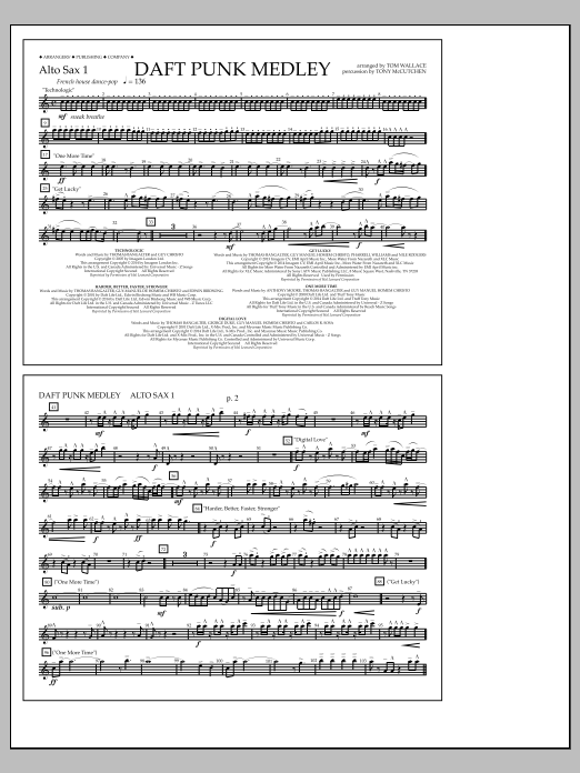 Tom Wallace Daft Punk Medley - Alto Sax 1 sheet music notes and chords
