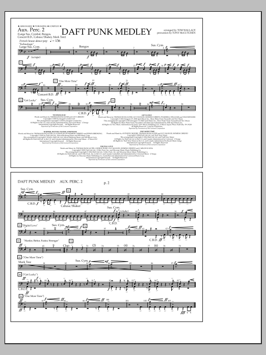 Tom Wallace Daft Punk Medley - Aux. Perc. 2 sheet music notes and chords