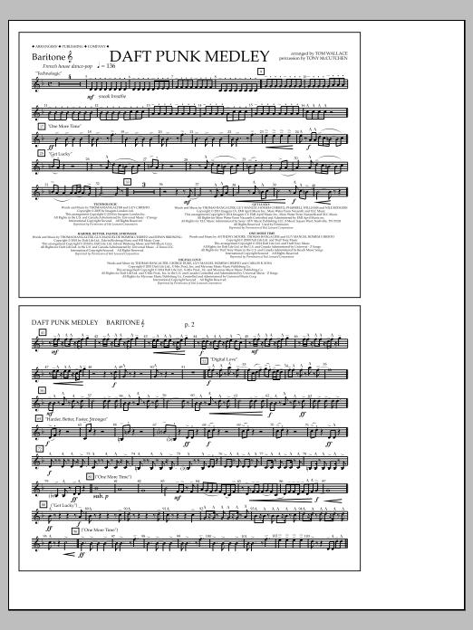 Tom Wallace Daft Punk Medley - Baritone T.C. sheet music notes and chords