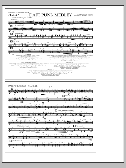Tom Wallace Daft Punk Medley - Clarinet 2 sheet music notes and chords