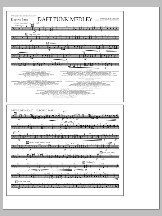 Tom Wallace Daft Punk Medley - Electric Bass sheet music notes and chords