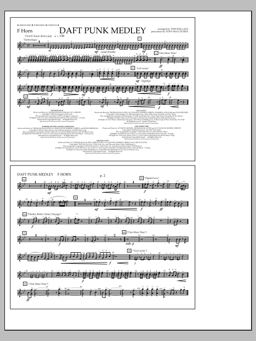 Tom Wallace Daft Punk Medley - F Horn sheet music notes and chords