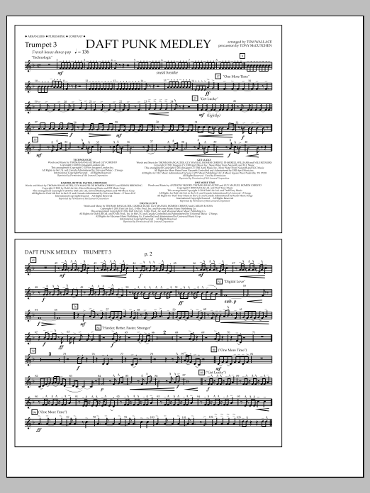 Tom Wallace Daft Punk Medley - Trumpet 3 sheet music notes and chords. Download Printable PDF.