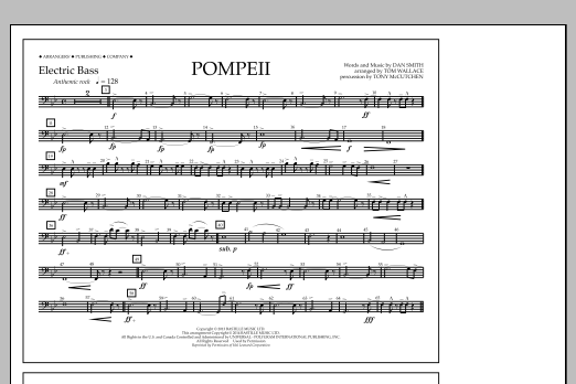 Tom Wallace Pompeii - Electric Bass sheet music notes and chords. Download Printable PDF.