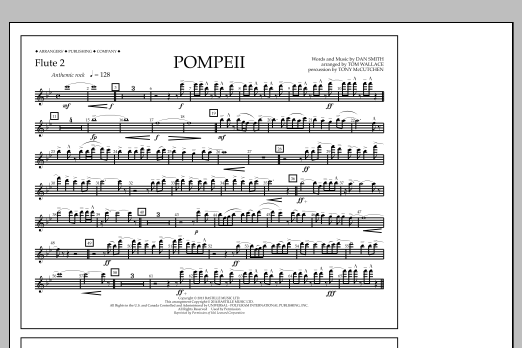 Tom Wallace Pompeii - Flute 2 sheet music notes and chords
