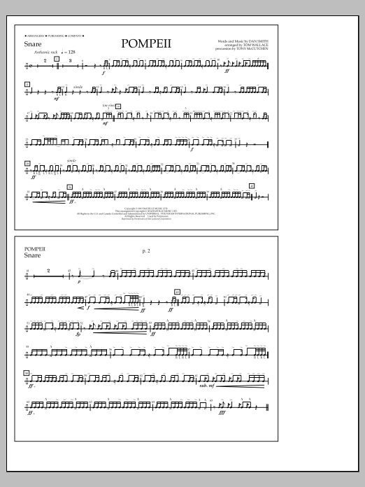 Tom Wallace Pompeii - Snare sheet music notes and chords