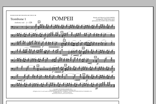 Tom Wallace Pompeii - Trombone 1 sheet music notes and chords