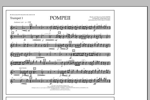 Tom Wallace Pompeii - Trumpet 1 sheet music notes and chords
