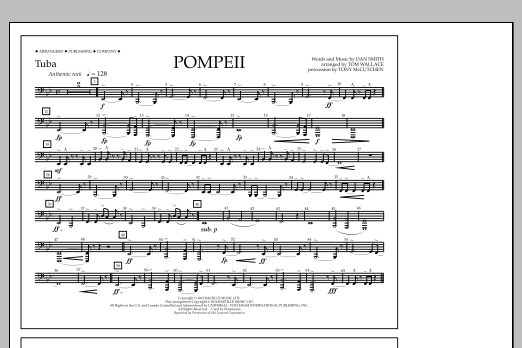 Tom Wallace Pompeii - Tuba sheet music notes and chords