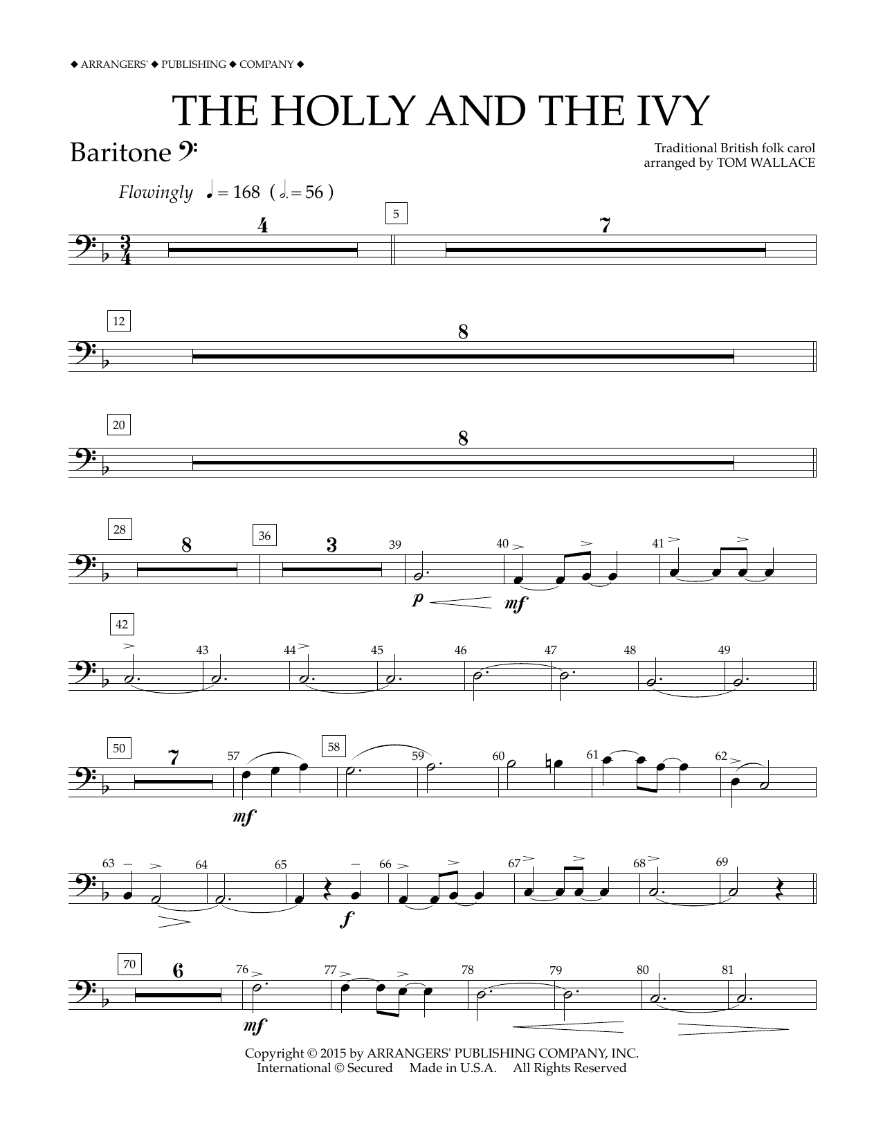 Tom Wallace The Holly and the Ivy - Baritone B.C. sheet music notes and chords. Download Printable PDF.