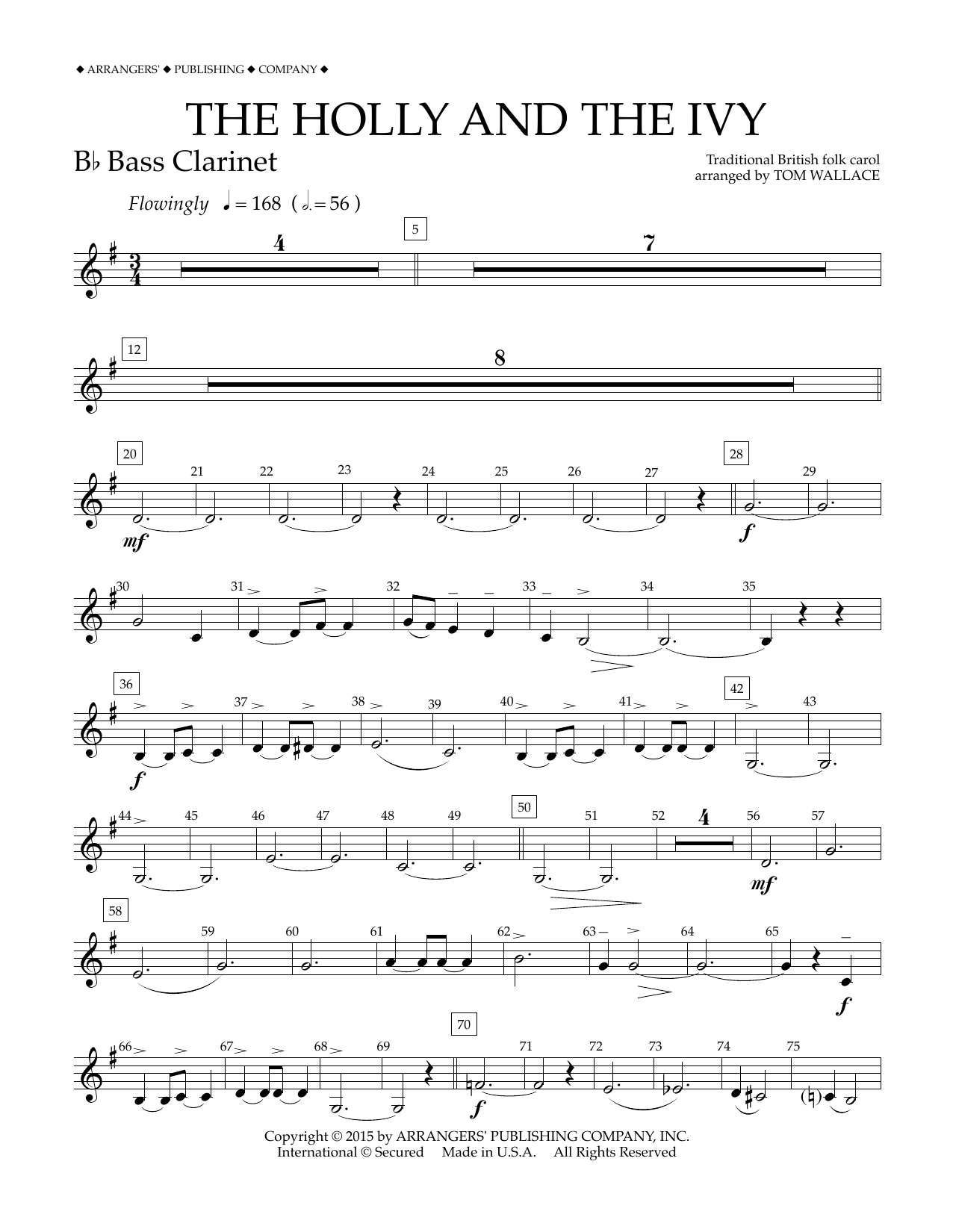 Tom Wallace The Holly and the Ivy - Bb Bass Clarinet sheet music notes and chords