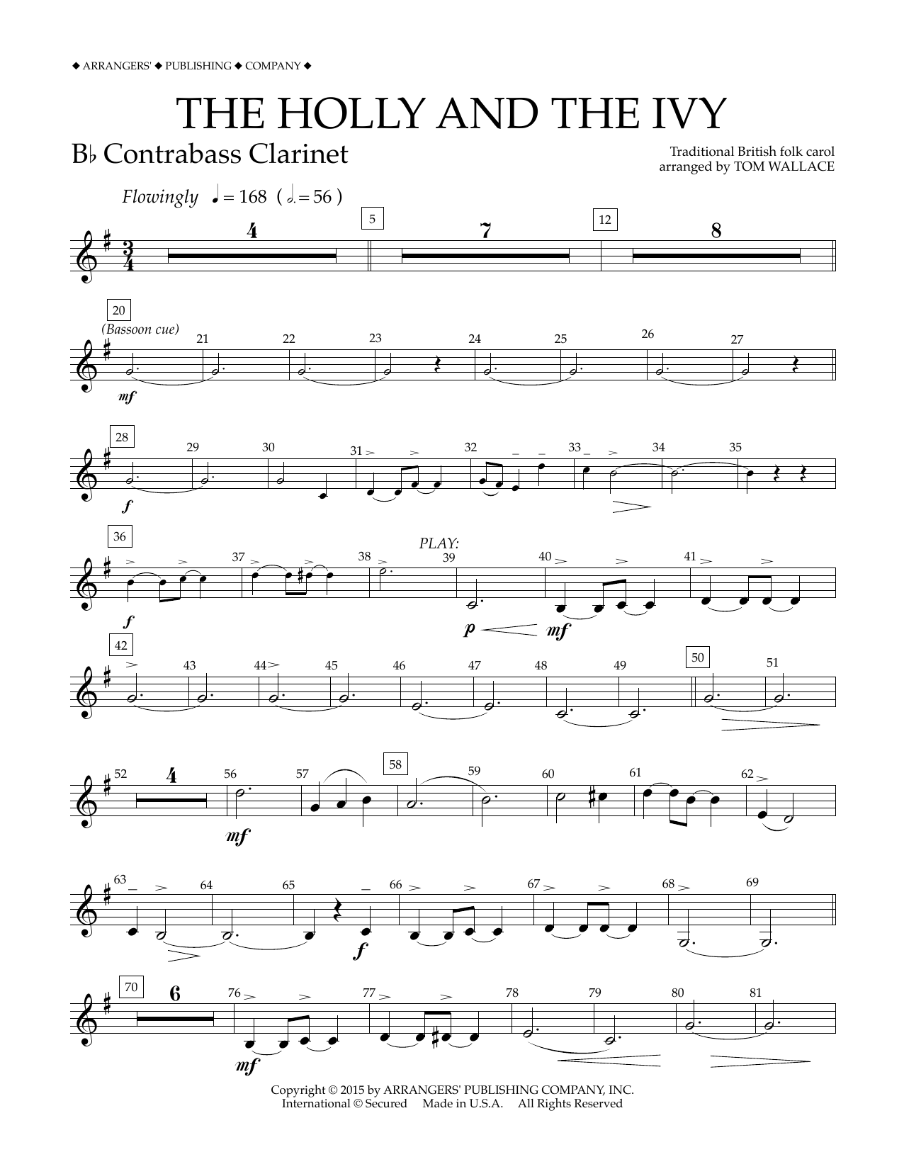 Tom Wallace The Holly and the Ivy - Bb Contrabass Clarinet sheet music notes and chords
