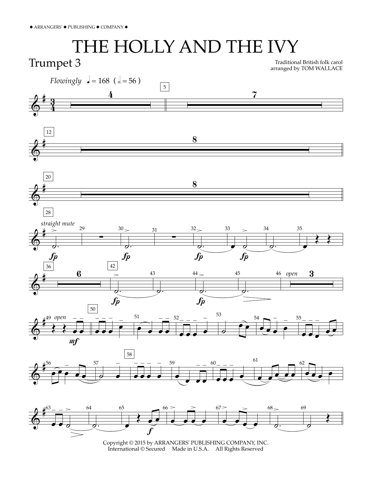 Tom Wallace The Holly and the Ivy - Bb Trumpet 3 sheet music notes and chords