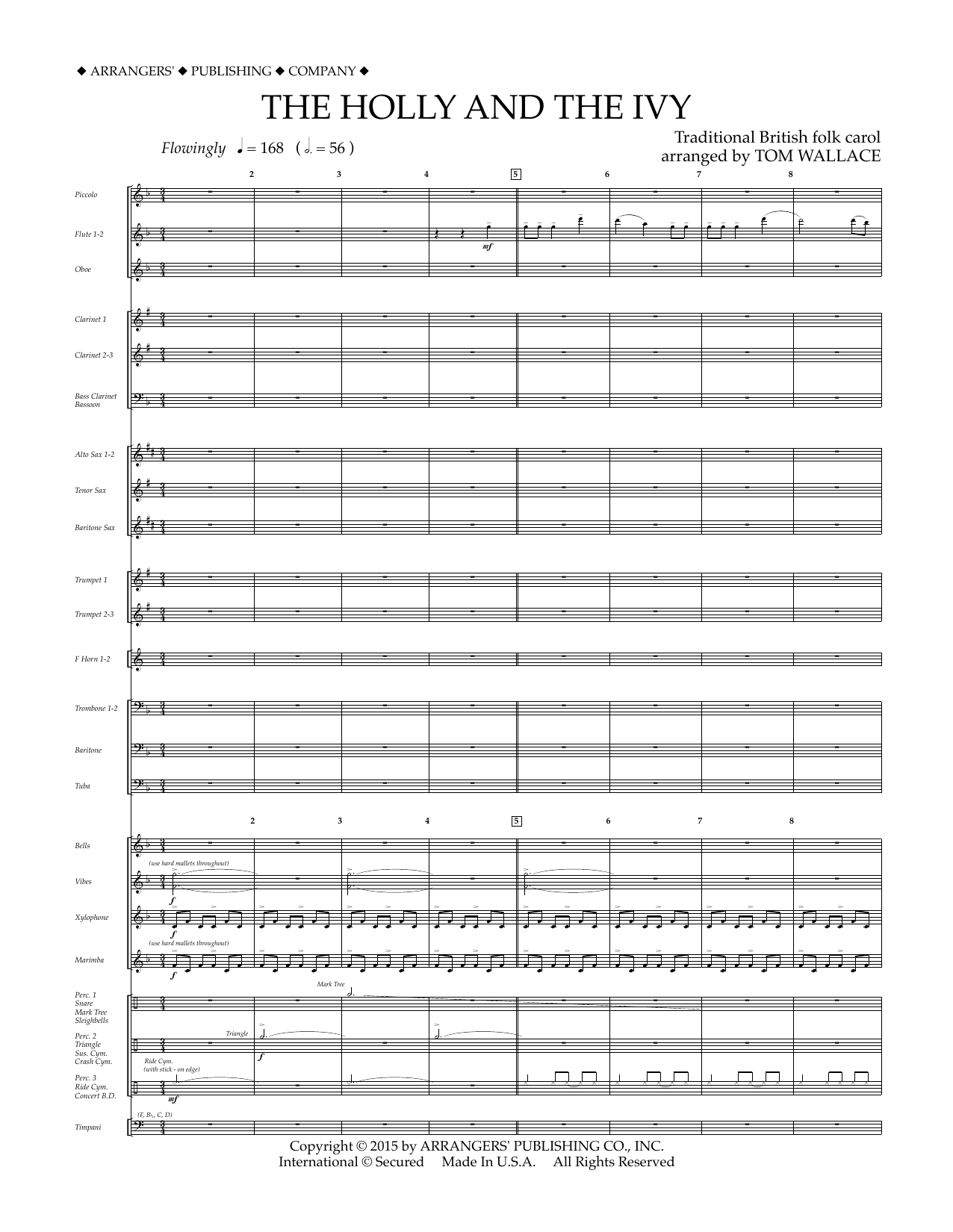 Tom Wallace The Holly and the Ivy - Conductor Score (Full Score) sheet music notes and chords