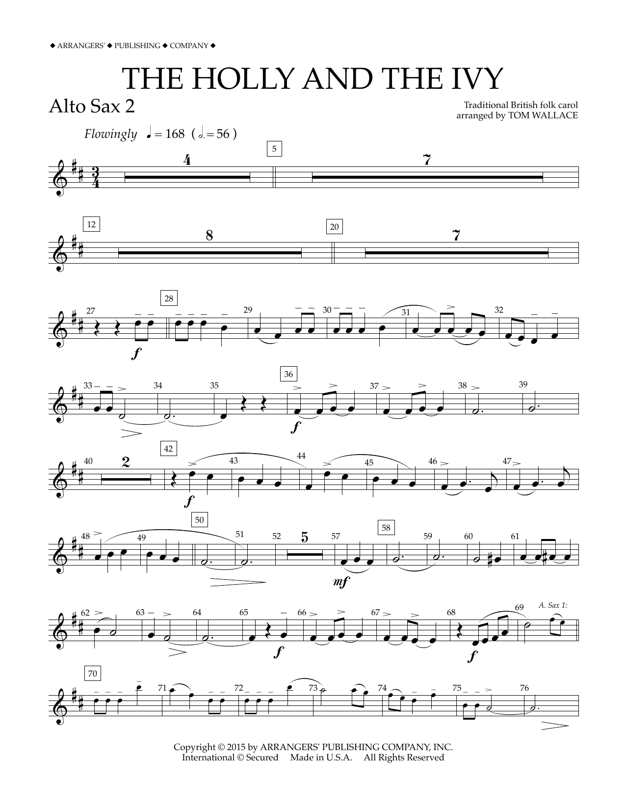 Tom Wallace The Holly and the Ivy - Eb Alto Saxophone 2 sheet music notes and chords. Download Printable PDF.
