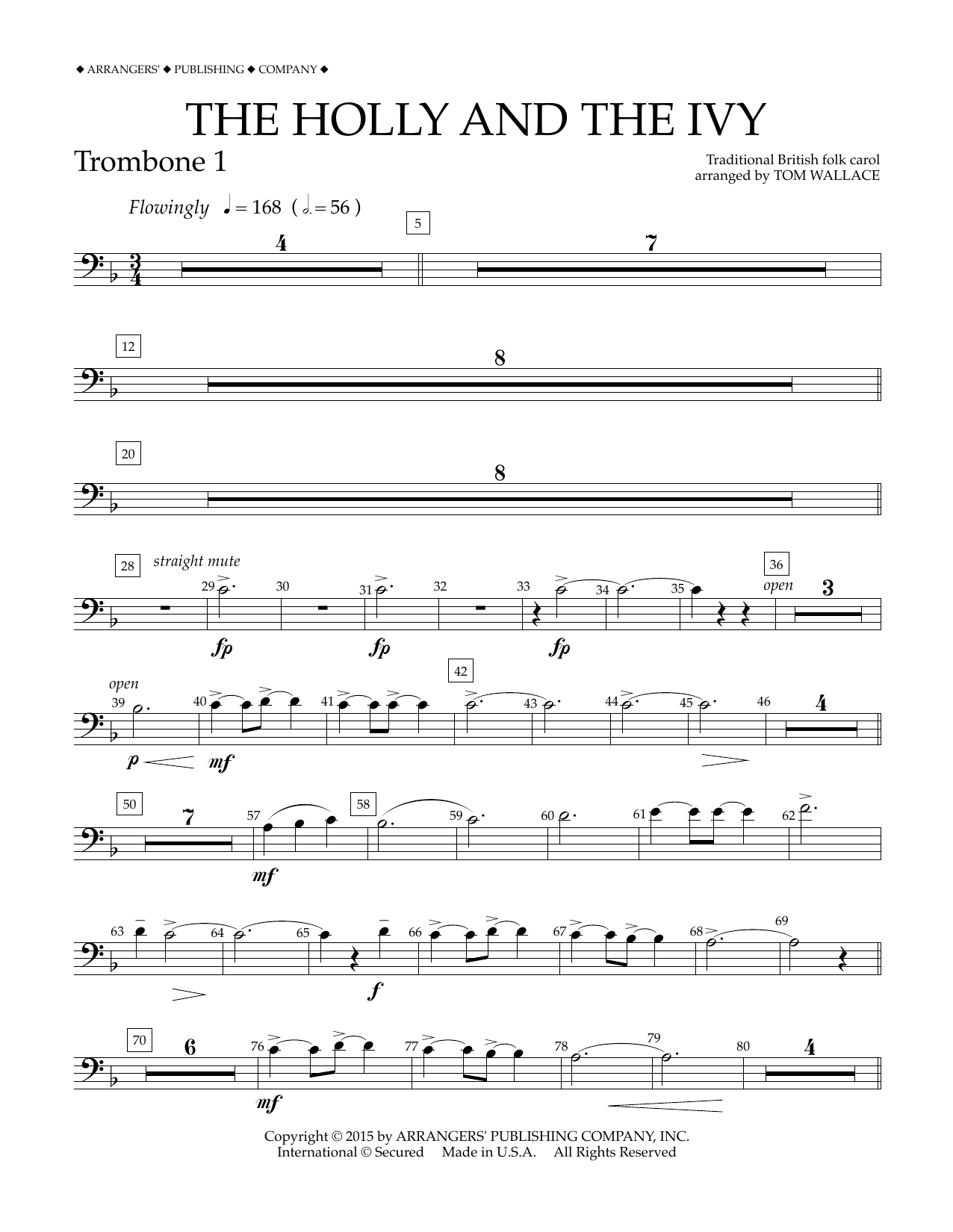 Tom Wallace The Holly and the Ivy - Trombone 1 sheet music notes and chords