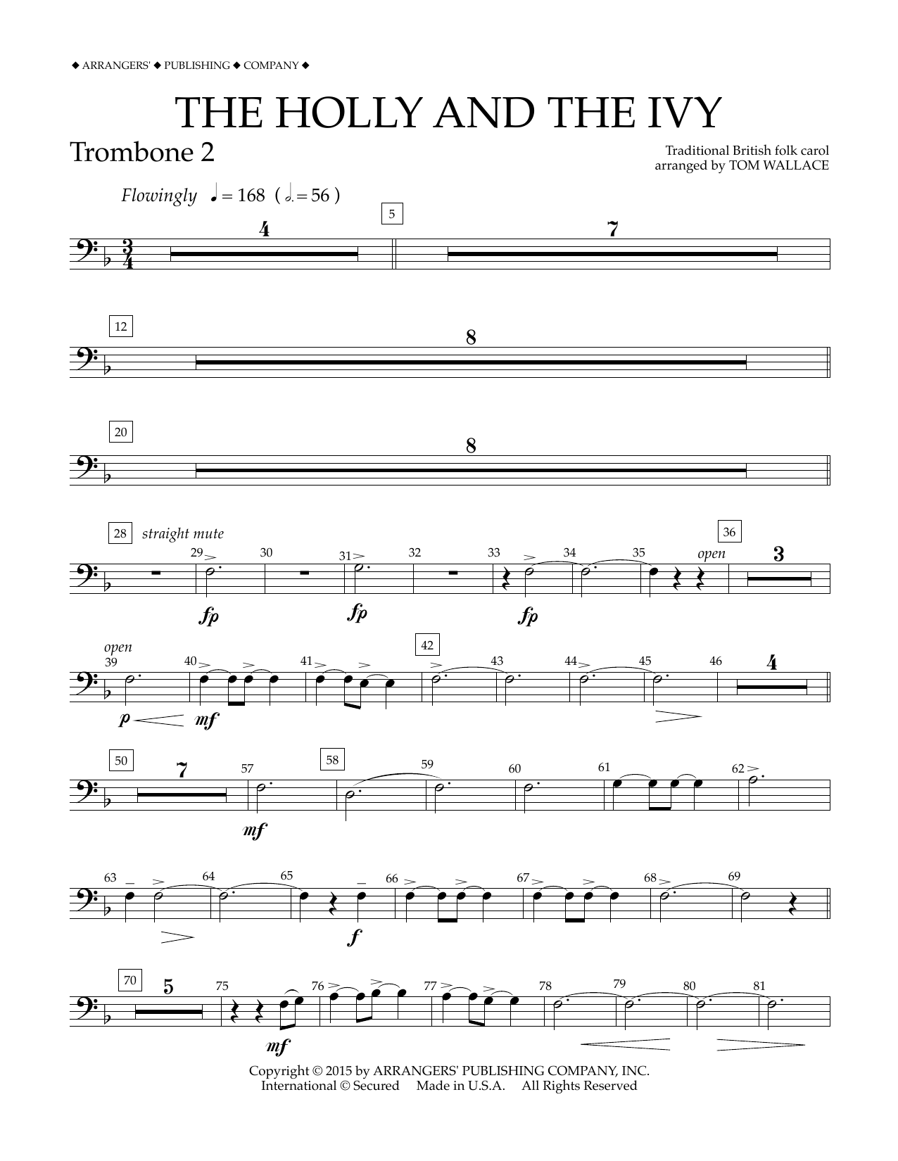 Tom Wallace The Holly and the Ivy - Trombone 2 sheet music notes and chords