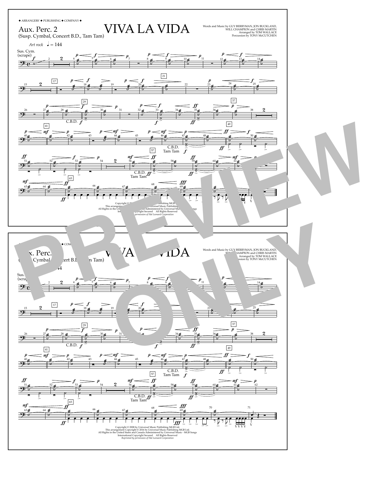 Tom Wallace Viva La Vida - Aux. Perc. 2 sheet music notes and chords. Download Printable PDF.
