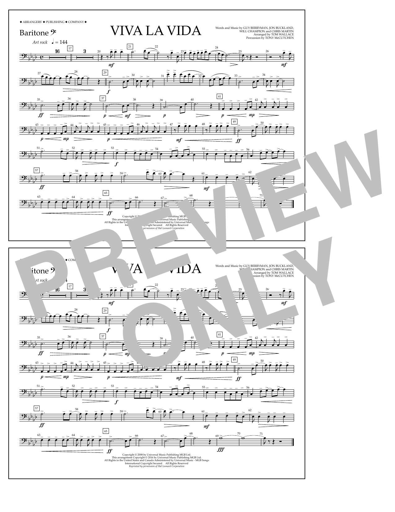 Tom Wallace Viva La Vida - Baritone B.C. sheet music notes and chords. Download Printable PDF.