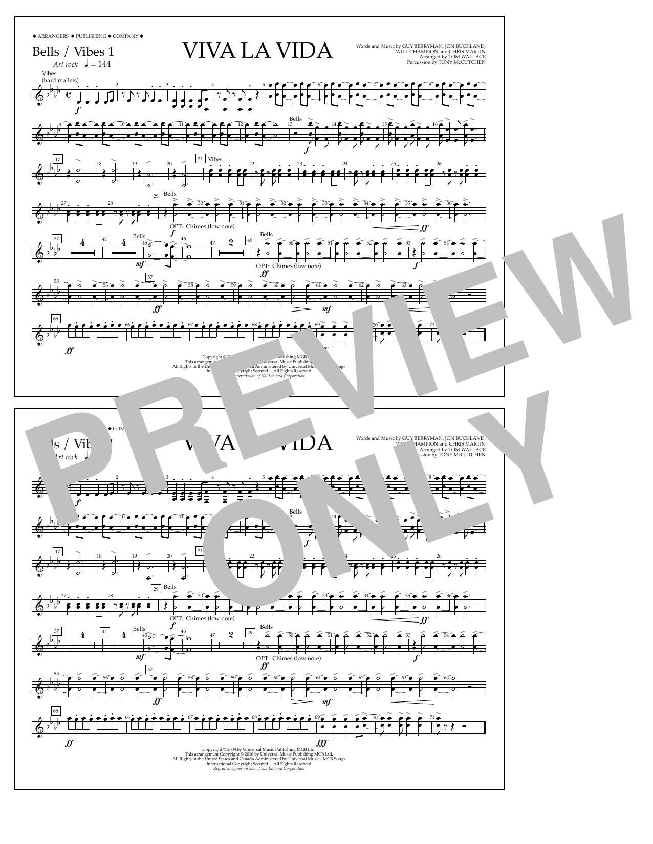 Tom Wallace Viva La Vida - Bells/Vibes 1 sheet music notes and chords. Download Printable PDF.