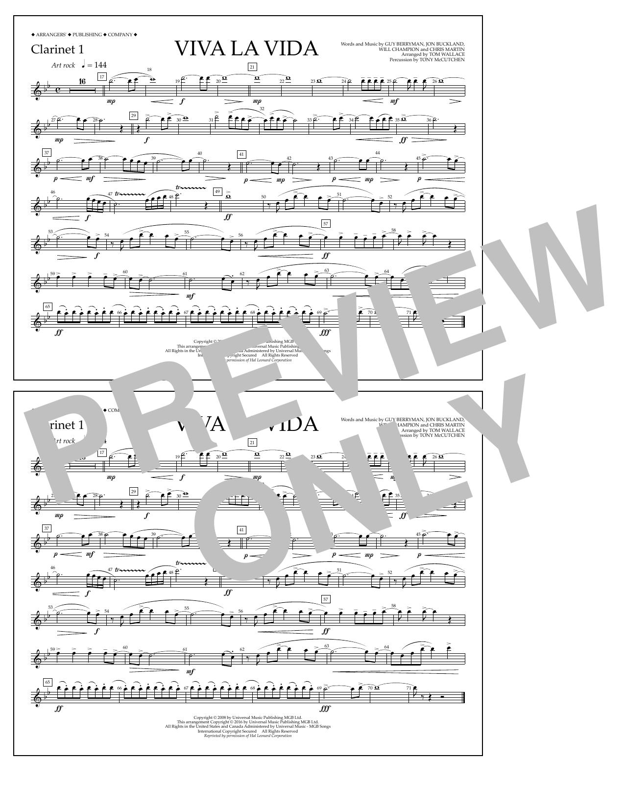 Tom Wallace Viva La Vida - Clarinet 1 sheet music notes and chords. Download Printable PDF.