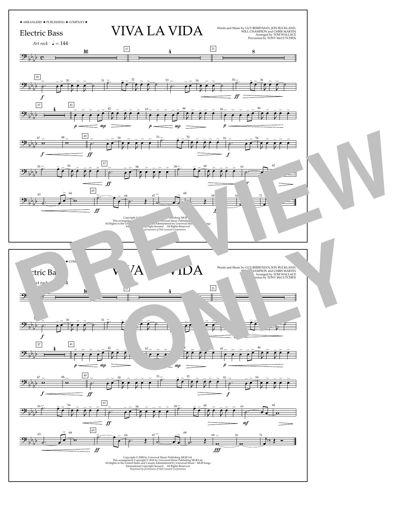 Tom Wallace Viva La Vida - Electric Bass sheet music notes and chords. Download Printable PDF.