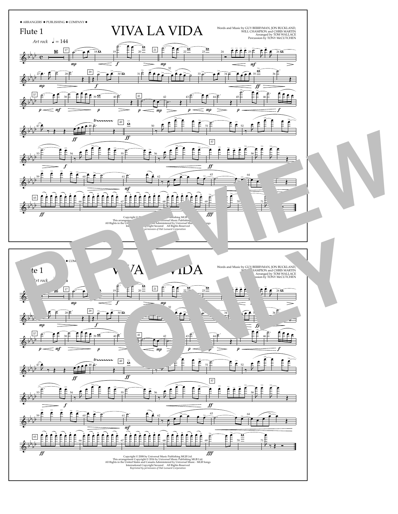 Tom Wallace Viva La Vida - Flute 1 sheet music notes and chords. Download Printable PDF.