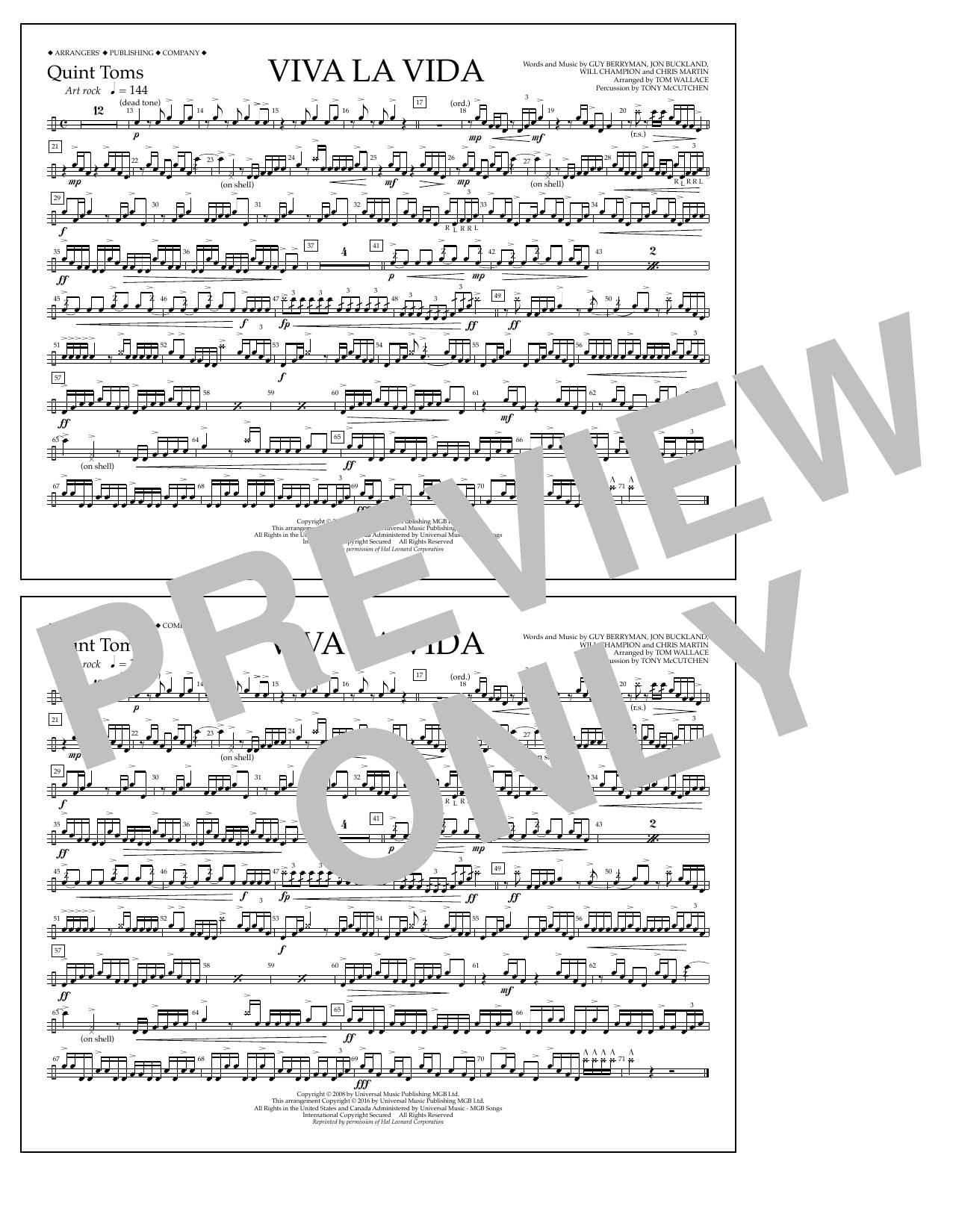 Tom Wallace Viva La Vida - Quint-Toms sheet music notes and chords. Download Printable PDF.