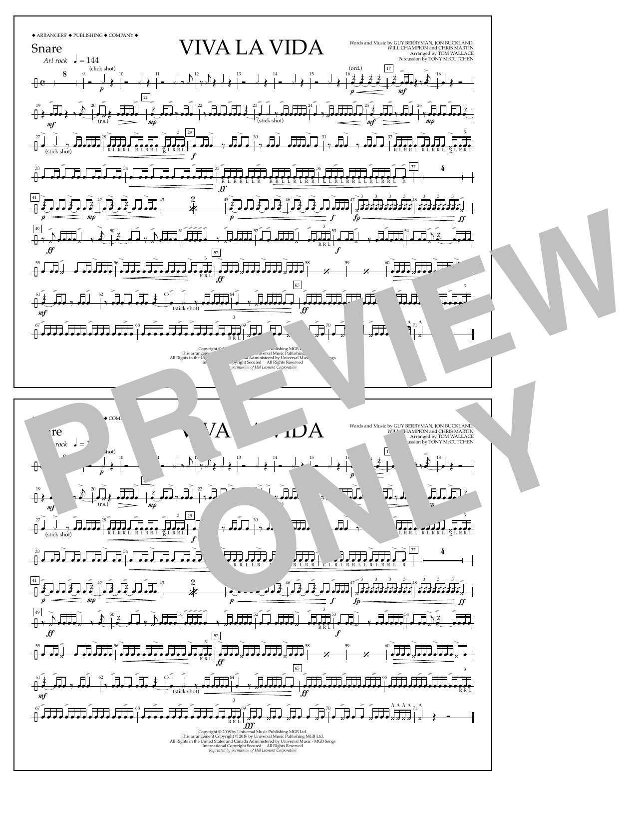 Tom Wallace Viva La Vida - Snare sheet music notes and chords. Download Printable PDF.