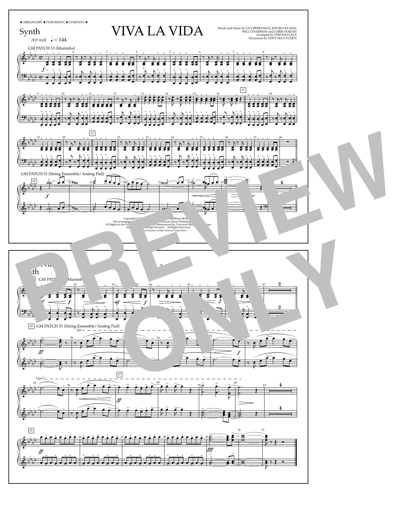 Tom Wallace Viva La Vida - Synthesizer sheet music notes and chords. Download Printable PDF.