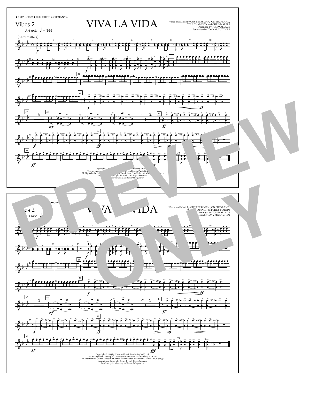 Tom Wallace Viva La Vida - Vibes 2 sheet music notes and chords. Download Printable PDF.