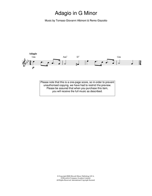 Tomaso Albinoni Adagio in G Minor sheet music notes and chords