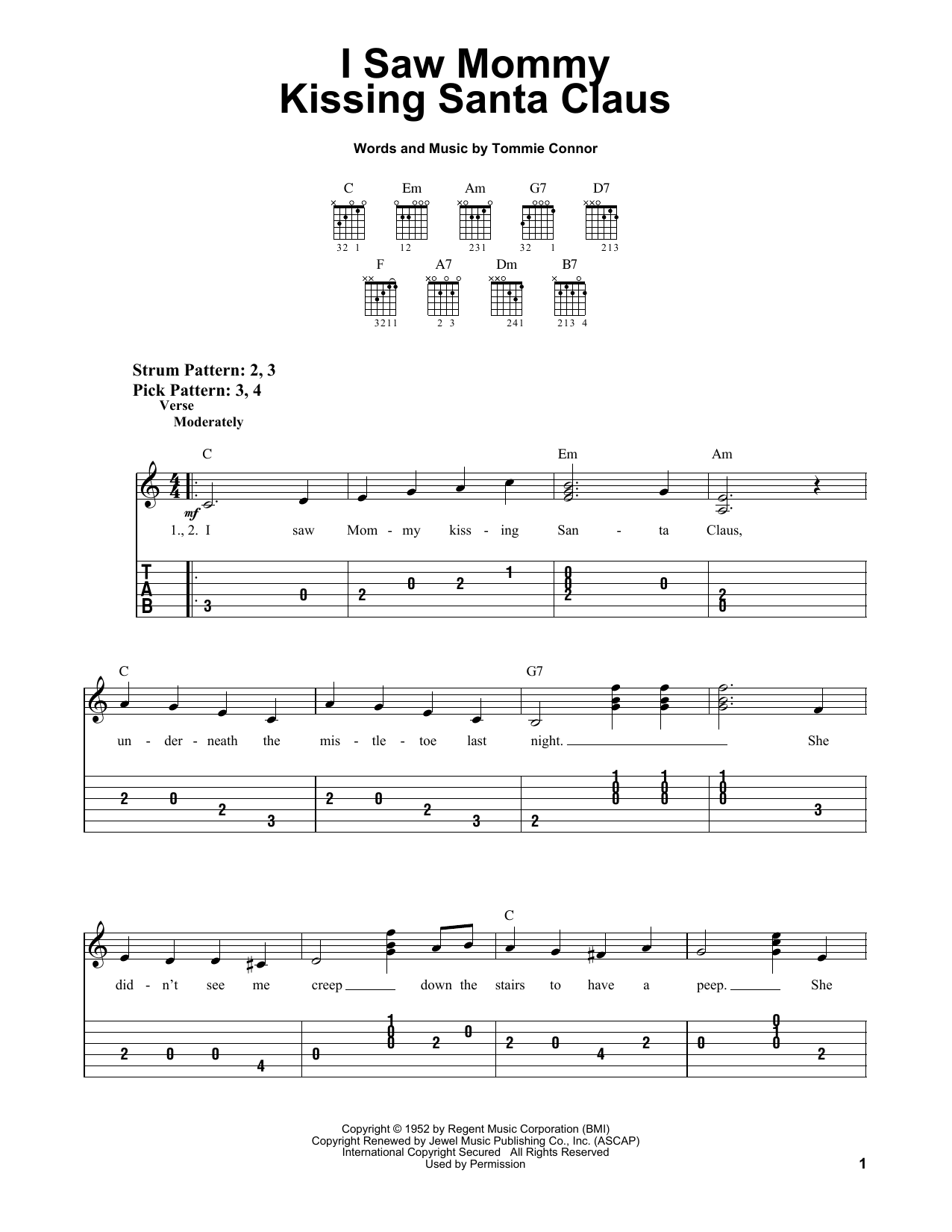 Tommie Connor I Saw Mommy Kissing Santa Claus sheet music notes and chords. Download Printable PDF.