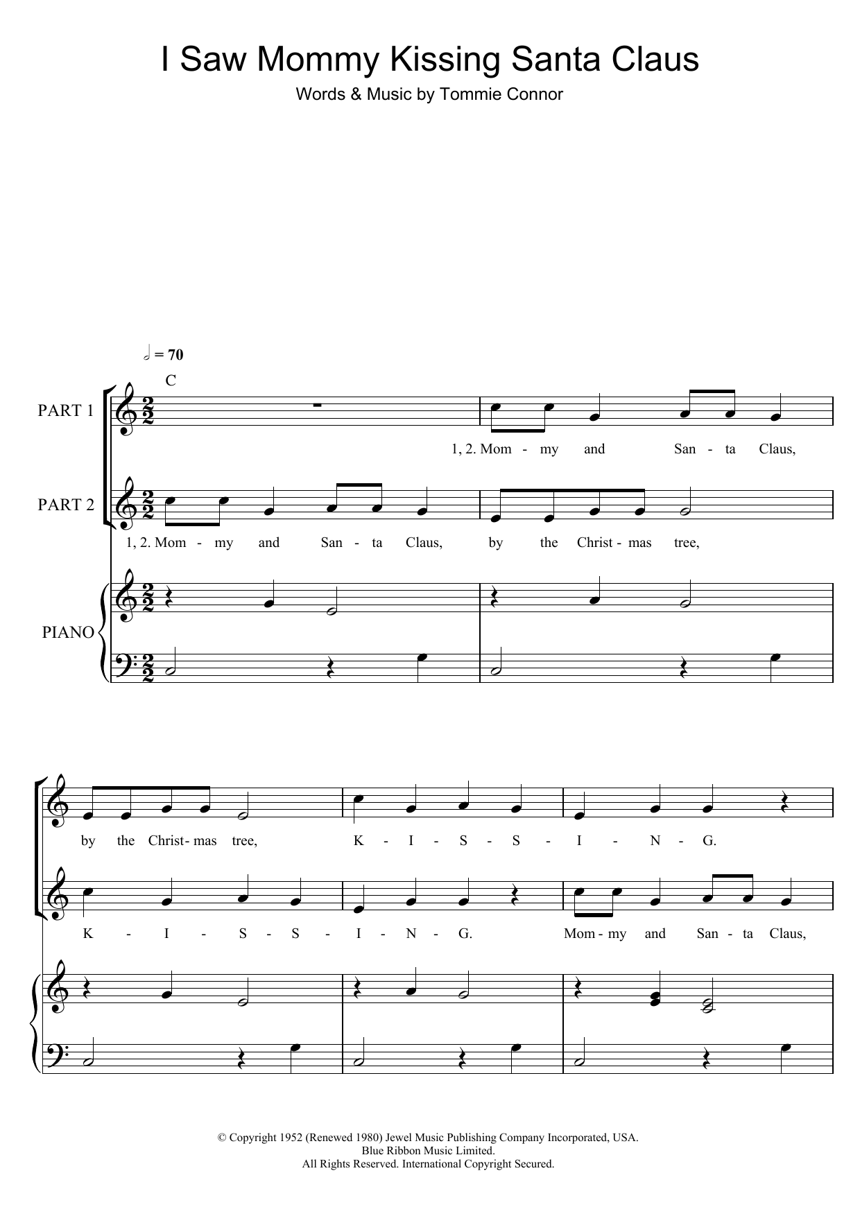 Tommie Connor I Saw Mommy Kissing Santa Claus (arr. Rick Hein) sheet music notes and chords. Download Printable PDF.